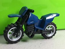 LEGO Dirt Bike / Motorcycle Dark Blue with Gray Rims Black Chassis City Town NEW