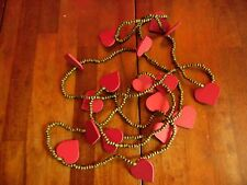 "USED 103""L MARTHA STEWART CHRISTMAS TREE STRING GARLANDS WOOD BEADS HEARTS"