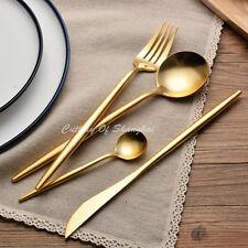 24pcs Stainless Steel 18/10 Elegant Gold Cutlery Dinnerware Set Dishwash Safe