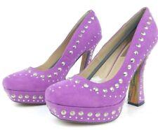 "Fahrenheit FRH Size 8 Purple Studs Pumps High 5"" Heels Platform Shoes Dancer"