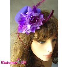 Purple Mini Top Hat with flower Burlesque Fascinator