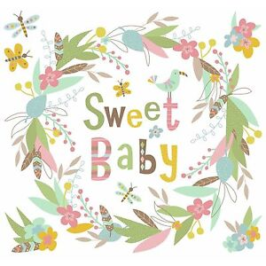 SWEET BABY Wreath WALL DECALS Mural BIG Nursery Stickers Birds Floral Decor NEW