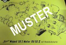 Explosionsdarstellung Simson SR2 Motor RH50II Pedalkickstarter 69x48cm