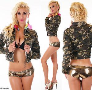 Women's Camouflage Military Jacket Biker Cropped Jacket Long Sleeve Size 8-14