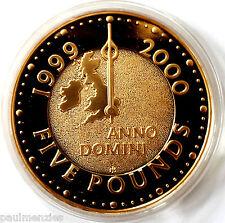 La regina Elisabetta II 1999 Millennio anno prova oro cinque POUND CORONA FDC