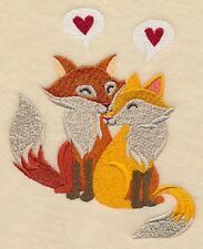 Fox Sweethearts  OF 2 BATH HAND TOWELS EMBROIDERED BY LAURA