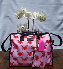 Betsey Johnson Weekender Carry On Luggage Travel Tote Red Pink Crabs Lobsters
