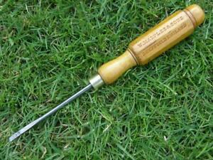 VINTAGE ENGLISH WOODEN HANDLE CABINET MAKERS SCREWDRIVER BY WILLIAM MARPLES.
