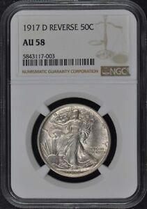 1917-D REVERSE Walking Liberty Half Dollar 50C NGC AU58
