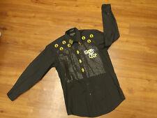 Marquis Gold Bling Slots Luck Vegas Money Bar Pimp Black Collared Dress Shirt Sm