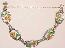 Art Deco Sterling Silver Guilloche Enamel Marcasite Flower Panel Bracelet 1920's