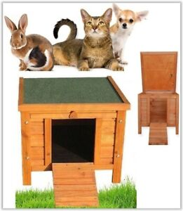 Wooden Cat Shelter Dog Rabbit Small Pet Bed Kennel Hutch House Outdoor Garden