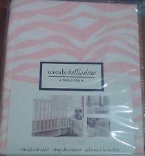 Wendy Bellissimo Little Safari Pink White Zebra Animal Print Fitted Crib Sheet