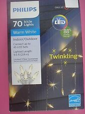 PHILIPS LED CHRISTMAS ICICLE LIGHTS TWINKLING WARM WHITE CONNECTS NEW