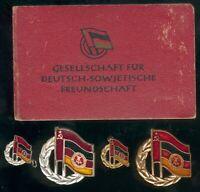 DDR Lot mit DSF Mitgliedsbuch Güstrow 1950 mit 4 Abz. der DSF Gold/Silber