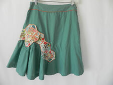 Odille Fit & Flared Skirt Light Blue Patching & EmbroideryTrim Size 4 A-Line