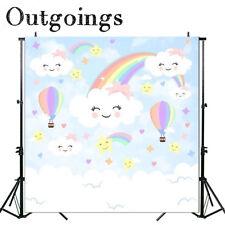 Rainbow Clouds Background Vinyl Backdrop Kids Birthday Banner Photo Studio 7X12F