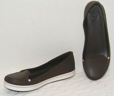 CROCS WOMEN'S DARK BROWN RUBBER LOAFER SLIP-ON SHOES Size 11 GUC