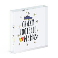 Verrückte Fußball Mann Acryl Foto Block Rahmen Lustig Fußball Sport