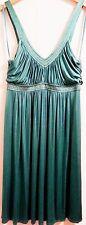 BCBG Max Azria Green/Gold Stitch Acet/Spdx Silk Trim, Empire Waist Dress SIZE 8