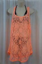 Miken Swimwear Cover Up Sz L Cantaloupe Orange Crochet Swimcover I9962K050