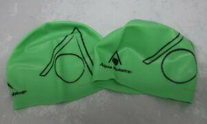 2pk Aqua Sphere Tricap Adult Silicone Swim Cap Unisex Men Women Green TWO PACK