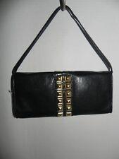 Michael Kors Calista Black Gold-tone Stud Clutch Purse Handbag