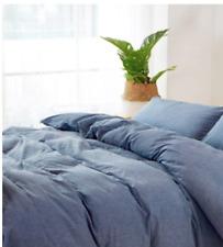 100% Washed Cotton Duvet Cover Set 300Tc, Blue Solid