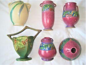 Choose: Roseville Green Bushberry Basket 4 Red Baneda Vases 1933 All Excellent