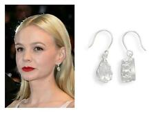 Celebrity Style~~Pear Shaped CZ Crown Edge Dangle Drop French Wire .925 Earrings
