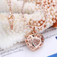 NeW 18K Rose Gold Filled Filigree Heart Pendant Necklace With Swarovski Crystal