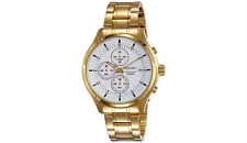 Seiko Mens Gold Plated Chronograph Watch - New