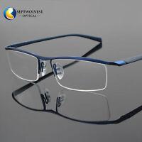 Men's Half Rimless Titanium Eyeglass Frame Spectacles Glasses Optical Eyewear Rx