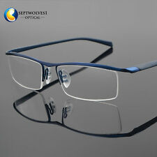 1c89deabd79 Men s Half Rimless Titanium Eyeglass Frame Spectacles Glasses Optical  Eyewear Rx