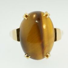 Vintage 9Ct Gelbgold Cabochon Tiger Eye Solitaire Ring(Größe T) 13x17mm Head