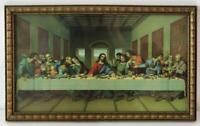 "Vintage Catholic Religious Framed Last Supper Litho Print 15"" x 9.25"""