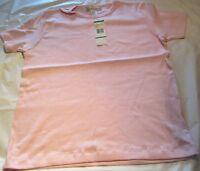 Jones NEWYORK Sport Ladies Casual Top Crystal Pink Large 100 % Cotton T-Shirt