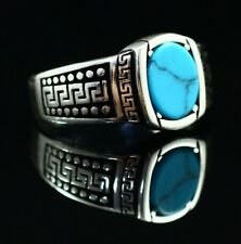 Turkish Handmade 925K Sterling Silver Turquoise Men's Ring Size 8,9,10,11,12