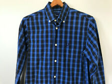 Mens Fred Perry Long Sleeve Button Down Shirt sz XS Logo Blue Black Plaid Check