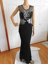 New Deep Blue Scoop Neck Sleeveless Sequin/Lace Polyester Mermaid Maxi Dress S
