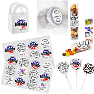 """Essential Workers Thank You Stickers, 24 DIY Labels 1.67"""" Diameter Party Favor"""