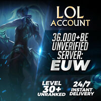League of Legends Account EUW LOL Smurf 36000 BE IP Unranked Level 30 PC