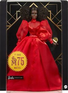 """Barbie Collector Mattel 75th Anniversary 12"""" Doll Brunette Curly Hair Red Gown"""