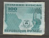 Africa France revenue fiscal stamp 2-19-21 as seen -NON SOAKABLE on Piece -Mali