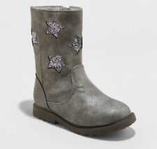 New Cat & Jack Reina Boot with Glitter Stars Pewter Toddler Girls Size 9