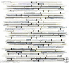 Bullet Light Gray Bianco White Carrara Marble Kitchen Bathroom Mosaic Tile- 10