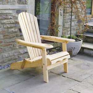 Outdoor Adirondack Garden Patio Lawn Chair / Armchair - with Slide Away Leg Rest