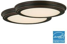 2 Pack Ceiling LED 13 in. Oil Rubbed Bronze Round Fixture Flushmount White Shade