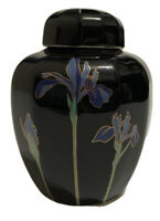 Vintage Otagiri Blue Iris Porcelain Ginger Jar Vase Black Gold Floral Japan