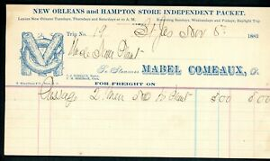 """STEAMBOAT FREIGHT BILL """"Mabel  Comeaux"""""""